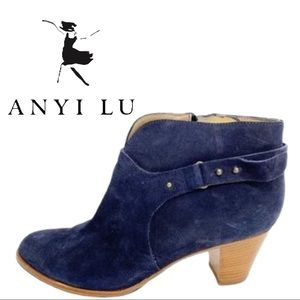 Anyi Lu Suede Bootie Cynthia Ankle Boot Navy Blue